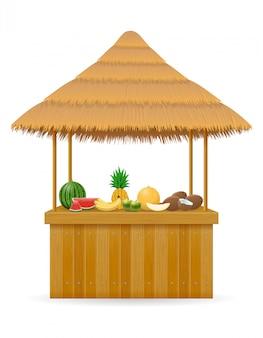 Frische bar mit strandstand für die sommerferien im resort in den tropen
