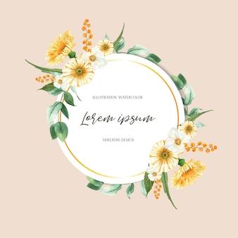 Frische blumen des frühlingskranzrahmens, dekorkarte mit buntem mit blumengarten, hochzeit, einladung