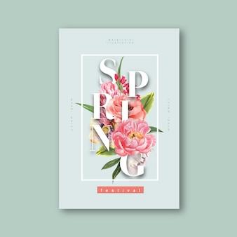 Frische blumen des frühlingsplakats, dekorkarte mit buntem mit blumengarten, hochzeit, einladung