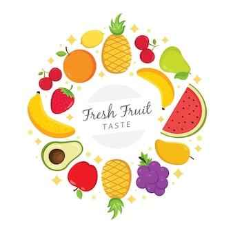 Frische bunte früchte vereinbarten im kreis