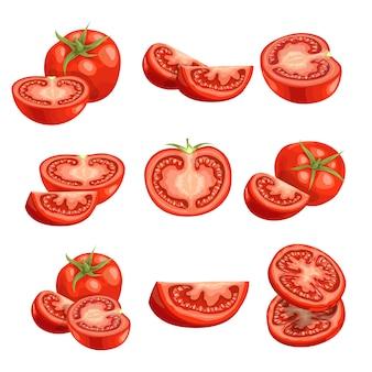 Frische cartoon-tomaten. rotes gemüse in. schneiden sie eine geschnittene, einzelne und gruppenfarm frische tomaten. illustrationen auf weißem hintergrund.