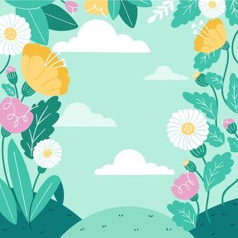 Frische entspannende frühlingsgarten-hintergrundschablonen-gekritzel gezeichnete illustration