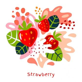 Frische erdbeer-beeren-beeren-fruchtsaft spritzen saftige splatter-erdbeeren der bio-lebensmittel auf handgezeichneten illustrationen des abstrakten hintergrunds