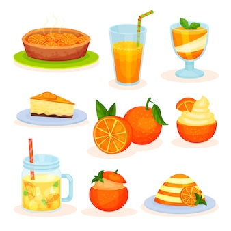 Frische fruchtorangen-desserts, frisch gebackene torte, saft, mousse, kuchen, pudding illustrationen auf einem weißen hintergrund
