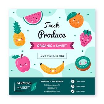 Frische früchte flyer vorlage