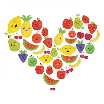 Frische früchte kawaii zeichen