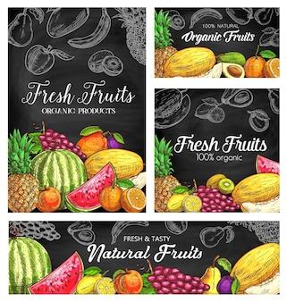 Frische früchte skizzieren plakate, natürliche ananas, wassermelone, aprikose oder trauben mit pflaume. bio birne, mango, orange und melone mit kiwi, avocado. natürliches sortiment des handgezeichneten öko-bauernhofprodukts