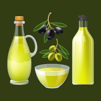 Frische gepresste olivenölflasche und -ausgießer mit dekorativem plakat der schwarzen und grünen oliven