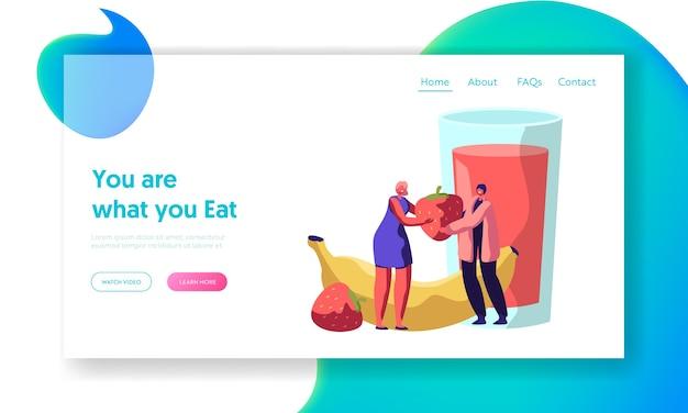 Frische gesunde erdbeer-bananen-smoothie-frühstücks-landingpage. bio-lebensmittel für das ernährungskonzept. obstmenü für vegetarian lifestyle website oder webseite. flache karikatur-vektor-illustration