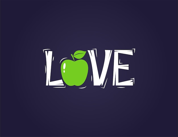 Frische grüne apfelfrucht mit liebeszitat-textillustration
