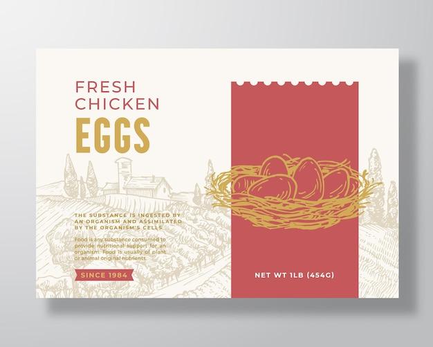 Frische hühnereier lebensmittel etikettenvorlage abstrakte vektor verpackung design layout moderne typografie ban...