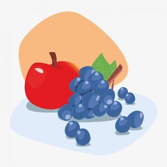 Frische köstliche fruchtnahrung ilustration der trauben und des apfels