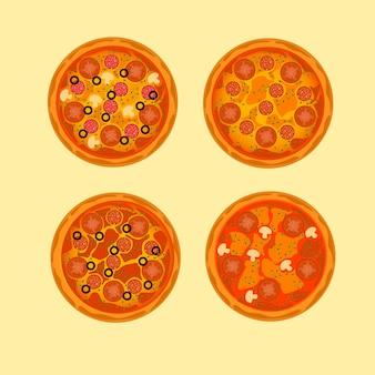Frische köstliche pizza-designillustration lokalisiert auf gelbem hintergrund.