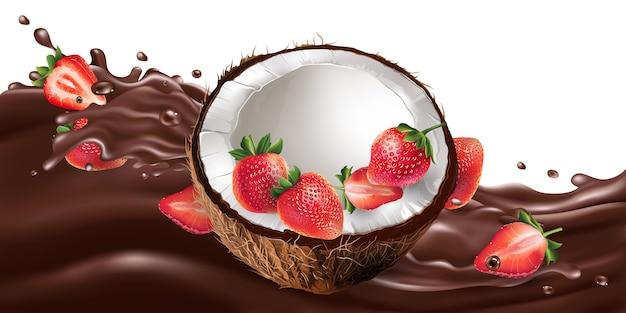 Frische kokosnuss mit erdbeeren auf einer schokoladenwelle.