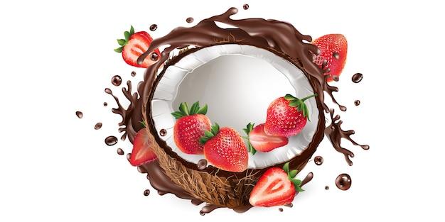 Frische kokosnuss mit erdbeeren in einem schokoladenspritzer.