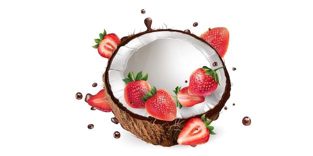 Frische kokosnuss mit erdbeeren und spritzer flüssiger schokolade.