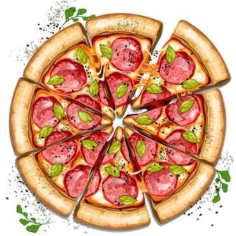 Frische leckere salamipizza isoliert auf weißem hintergrund draufsicht