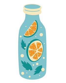 Frische limonade mit zitronenscheibe in der flasche. entwurfsvorlage für etiketten. vektorelement von smoothie-limonade frischer saft-entgiftung. doddle-cartoon-vektor-illustration.