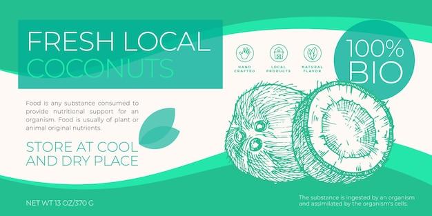 Frische lokale früchte etikettenschablone abstrakte vektorverpackung horizontales design-layout moderne typograp...