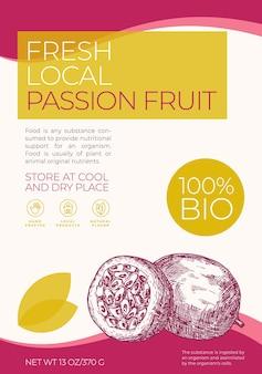 Frische lokale früchte etikettenvorlage abstrakte vektorverpackungsdesign layout moderne typografie banner w ...