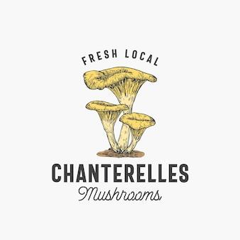Frische lokale pilze-emblem-vorlage. handgezeichnete bunte pfifferlinge-gruppe