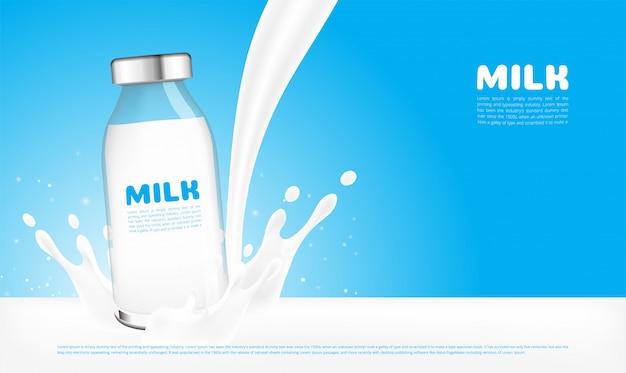 Frische milchglasflaschen werden bespritzt