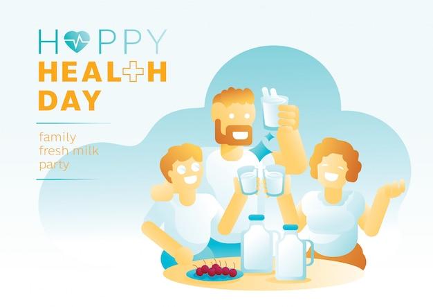 Frische milchparty der familie am gesundheitstag