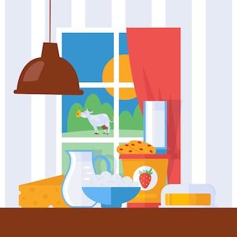 Frische milchprodukte, illustration. milch, käse und butter auf einem küchentisch im bauernhaus.