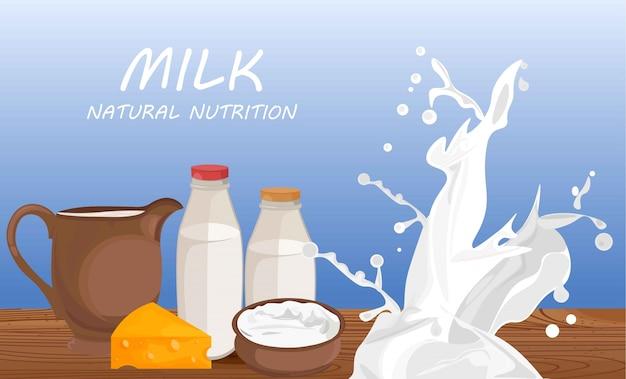 Frische milchprodukte vektor flachen stil etikettenvorlage banner illustrationen