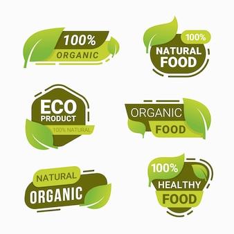 Frische naturproduktabzeichen gesunde vegetarische lebensmittelprodukte aufkleber und etiketten