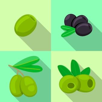 Frische oliven-icon-set. flacher satz frische olivenikonen für webdesign