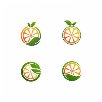 Frische orange mit einem blattvektorlogo