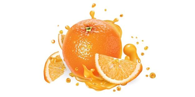 Frische orange und ein schuss fruchtsaft.