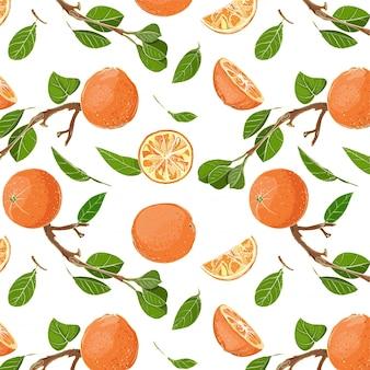 Frische orangen und blätter nahtloses muster
