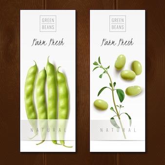 Frische organische grüne bohnenschoten gesunde wahl bauernmarkt bieten realistische vertikale banner isoliert vektor-illustration