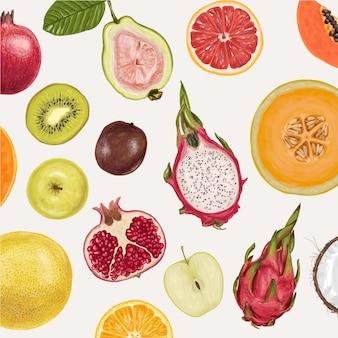 Frische saftige fruchtsammlung