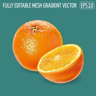Frische saftige orange - gesundes lebensmitteldesign.