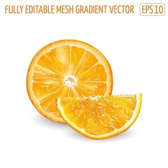 Frische saftige orange - gesundes lebensmitteldesign. Premium Vektoren