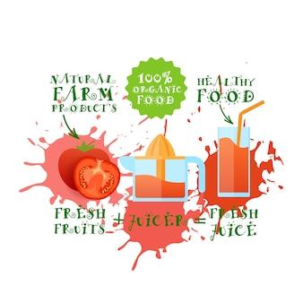 Frische saftillustration tomaten-juicer-hersteller-naturkost und landwirtschaftliches produkt-konzept-farben-spritzen