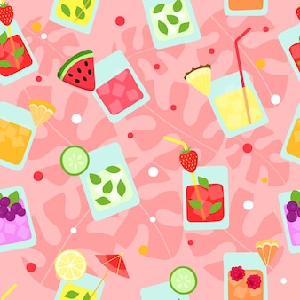 Frische sommer tropische frucht smoothies nahtlose muster lustige cocktails ananas erdbeere