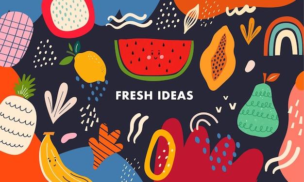 Frische stilvolle vorlage mit abstrakten elementen, kritzeleien und früchten.