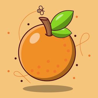 Frische süße orangenfrucht, flaches design