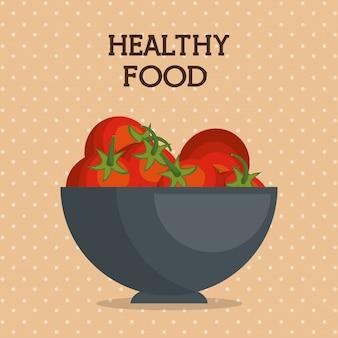 Frische tomaten im gesunden lebensmittel der schüssel
