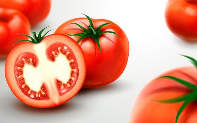 Frische tomaten mit geschnittenen