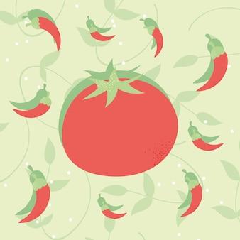Frische tomaten und chilischoten