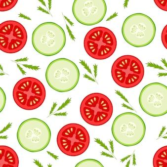 Frische tomaten- und gurkenscheiben nahtloses muster auf weißem hintergrund