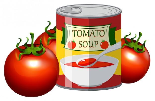 Frische tomaten und tomatensuppe in der dose