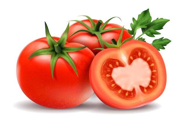 Frische tomatenelemente, ganz und halb isoliert
