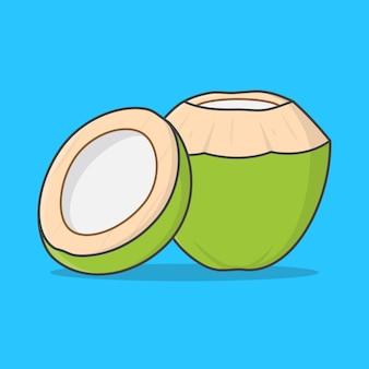 Frische trinkende kokosnuss und halbe kokosnuss-illustration. grüne kokosnuss