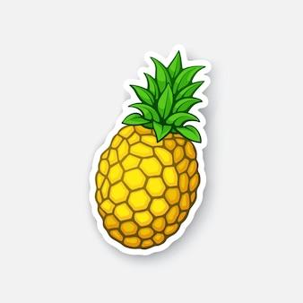 Frische tropische früchte ananas gesundes vegetarisches essen cartoon-aufkleber vektor-illustration